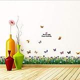Xqi wangpu Sockelleiste Blumen Blume Pflanze Schmetterling Wandtattoos Für Kinder Kinderzimmer Wohnzimmer Schlafzimmer Wohnkultur Wandaufkleber Poster 50x70 cm
