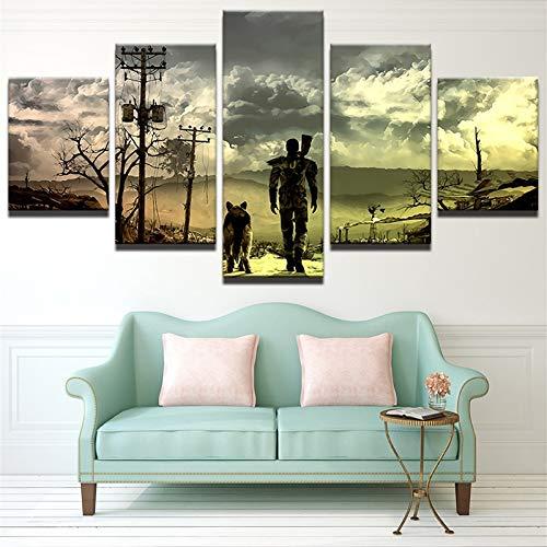 mmwin Modular Vintage Art Canvas Wall 5 Panel Personajes Decoración para el hogar Imprimir Cuadro Imagen para Sala de Estar