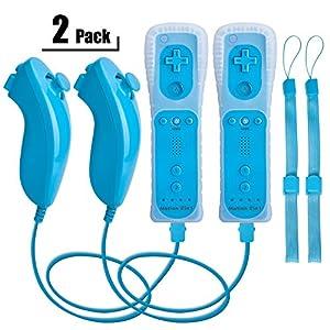 Wii Remote Controller und Nunchuk,TechKen WiiRemote PlusController Motion Plus mit Nunchuck WiiFernbedienung Joystick Wii Remote Game Control mit Silikonhülle Handschlaufe für Wii/Wii u