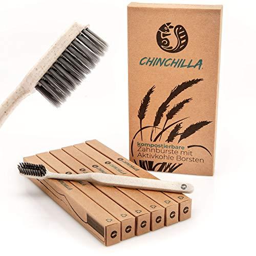 Chinchilla® 6er-Pack Biologisch Abbaubare Zahnbürste | Weizenstroh Griff & Aktivkohle-Borsten | 100% BPA-frei, Ökologisch & Vegan (beige)