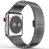 MoKo Armband für Apple Watch 38mm Series 3 / 2 / 1, Edelstahl Wrist Band Uhrband Uhrenarmband Erstatzband mit Butterfly Metallschließe für Apple Watch 38mm 2017, Dunkel Space Grau