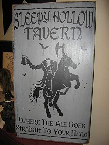 Eyrrme The Sleepy Hollow Tavern Headless Horseman Handbedrucktes primitives Holzschild Halloween