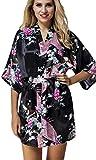 FLYCHEN Damen bunt satin Nachthemden japanische Kiminos Frauen Schlafanzug Schwarz L