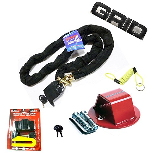 GRID 180cm Chain & Vorhängeschloss & Bodenanker mit 5,5 mm Festplatten-Lock-Motorrad-Sicherheits-Kit -