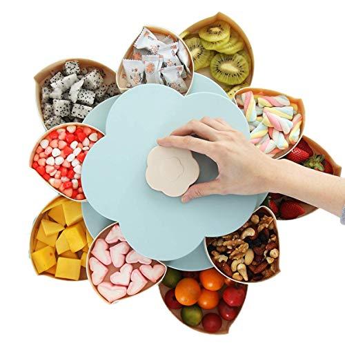 PDHJHT Zwei Schicht Blütenblatt geformt rotierenden Snack Box Flower Design Candy Dish getrocknete Früchte Teller Snacks Ablage Nüsse Aufbewahrungsbox, blau und rosa Zwei Farben (Blau) -