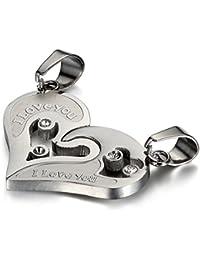 """Flongo Collares para Parejas Colgante de Corazón Partido """"I LOVE YOU"""" Hueco Corazón Cadena Acero Inoxidable Romántico Regalo de San Valentín Navidad"""