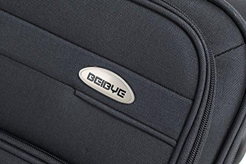 BEIBYE 4 Rollen Reisekoffer 8005 Stoffkoffer Gepäck Koffer Trolley SET-XL-L-M in 5 Farben Grau