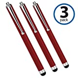 Panasonic Toughbook CF-C2 Stylus Pen, BoxWave [Capacitive Stylus (3-Pack)] Stylus Pen Multi Pack for Panasonic Toughbook CF-C2 - Crimson Red