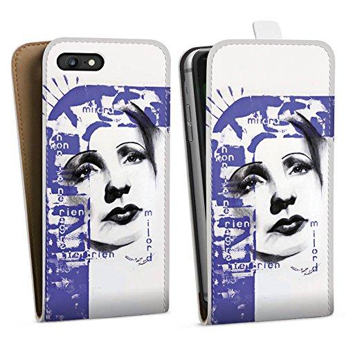 Apple iPhone X Silikon Hülle Case Schutzhülle Edith Piaf Frau Zeichnung Downflip Tasche weiß