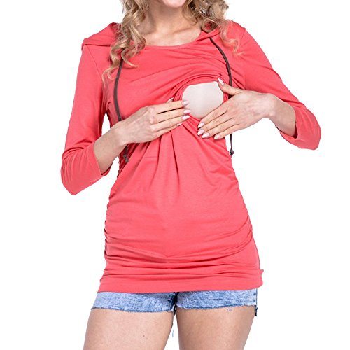 Beikoard Herbst und Winter Umstandskleidung Frauen Schwangere Frauen, die beiläufige Strickjacke stillen Langarm Kleidung für Schwangere KapuzenBluse