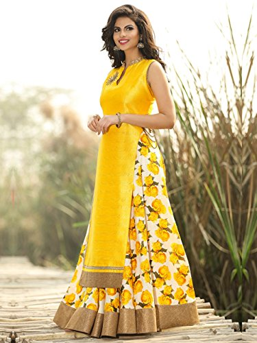 Spangel Fashion Festive Special New Fancy Yellow And White Flower Print Indo...