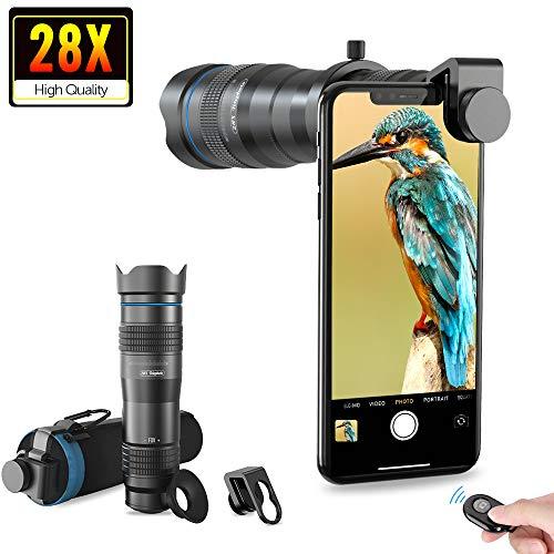 Apexel Téléobjectif HD pour téléphone Portable Zoom 28x avec obturateur pour iPhone, Samsung, Huawei, Xiaomi, Smartphones Android, télescope monoculaire