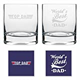 #8: Fathers day gifts for Dad, Worlds Best Dad Whiskey Glasses Set for Father- 325 ml Set of 2 by TheYaYaCafe