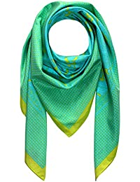 Lorenzo Cana Italian Scarf Pashmina Silk Cotton Shawl 43'' x 43'' Paisley Houndstooth Green Cyan 8912111