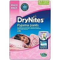 Huggies DryNites hochabsorbierende Pyjama-/ Unterhosen, Bettnässen Mädchen Jumbo Monatspackung, 64 Stück (4-7 Jahre)