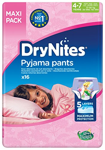 DryNites - Braguitas absorbentes para niñas de 4 – 7 años, 2 Pack x 16 unidades