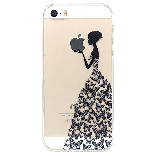 Iphone-modell (JIAXIUFEN Neue Modelle TPU Silikon Schutz Handy Hülle Case Tasche Etui Bumper für Apple iPhone 5 5S SE - Henna Series Black Apple Butterfly Girl)