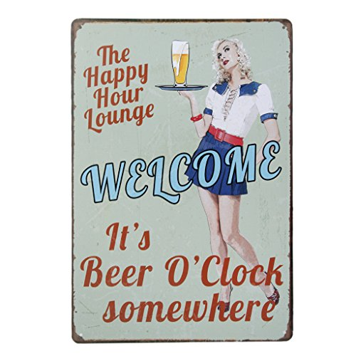 Vintage Poster Metallo BEER GIRL Arredo Murale Pub Bar Cafe Casa 20x30cm