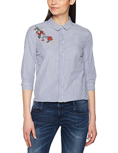 Only, Blouse Femme Multicolore (Cloud Dancer Aop:w. Blue Stripes And Embroidery As Wizz Shirt)