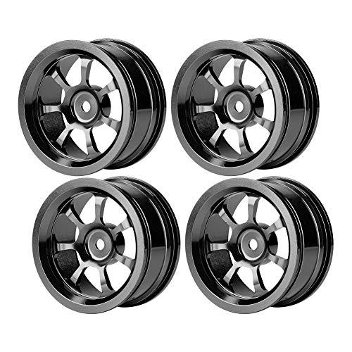 4 STÜCKE RC Radnaben, 1:10 Aluminiumlegierung Reifen Felgen Naben RC Zubehör für Drift on-Road Rennwagen(Schwarz)