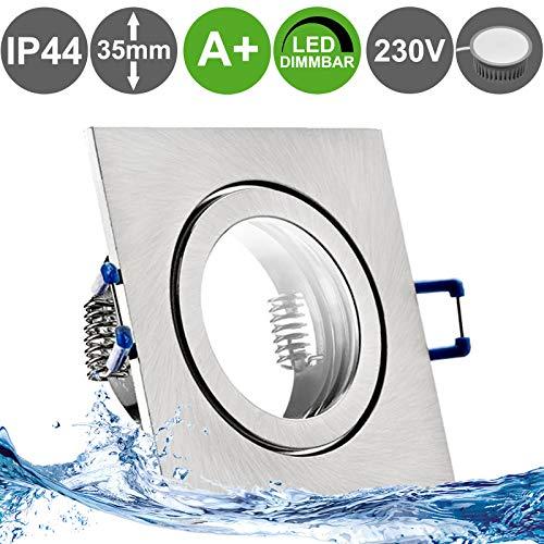 MARE IP44 3er Set LED Bad Einbaustrahler 5W dimmbar extra flach 230V Decken Spot EDELSTAHL OPTIK gebürstet eckig Neutral-Weiß (4000k) nur 35 mm Einbautiefe für Bad, Feuchtraum + außen