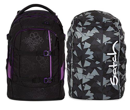 satch by ergobag pack Schulrucksack Purple Hibiscus inklusive Regencape verschiedene Farben (Black)