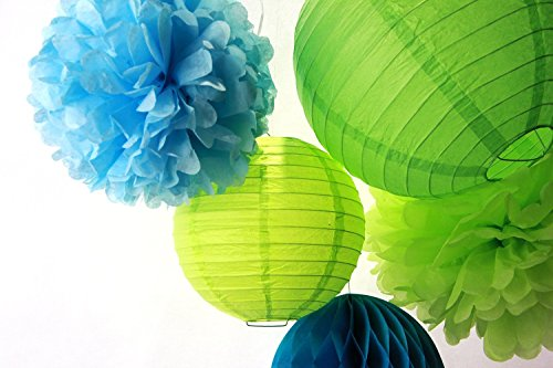 Preisvergleich Produktbild SUNBEAUTY 5er Set Blau Grün Serie Tissue Papier Pompom & Honeycomb Ball Wabenball & Lampion Mixed Geburtstag Feier Party Dekoration (Blau & Grün)