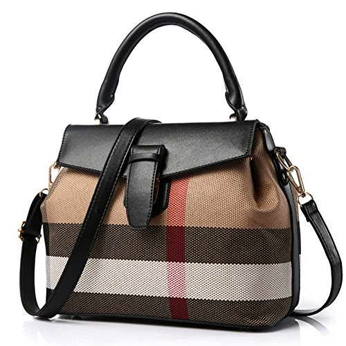 fanhappygo Fashion Retro Leder Damen elegant Plaid Handtaschen Umschlag Schulterbeutel Umhängetaschen schwarz