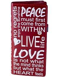 Shagwear Grand portefeuille pour femme Peace Love and Beauty Rouge foncé