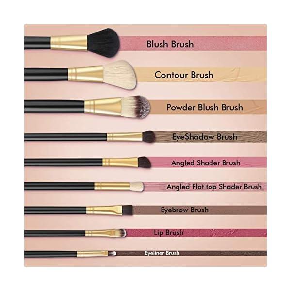 Juego de pinceles Unicorn para maquillaje profesional (12 unidades) de colores, con estuche protector de cuero