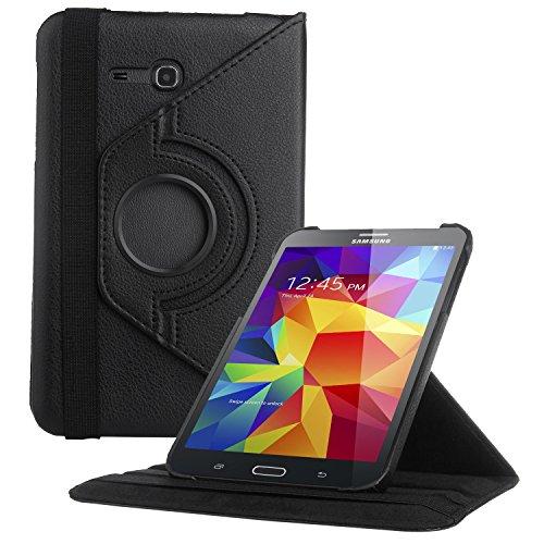 EnGive 360° Drehbares Ledertasche Schutzhülle Leder Tasche Samsung Galaxy Tab 3 7.0 Lite T110 T111 (7 Zoll) Hülle (Samsung Galaxy Tab 3 7.0 Lite, Schwarz) (Galaxy Tab 3 Schwarz)