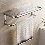 "Hiendure®Brass Wall-mounted Towel Rack Hanger Holder Organizer Bar Bathroom Towel Shelf (23"" Towel Shelf),Chrome"