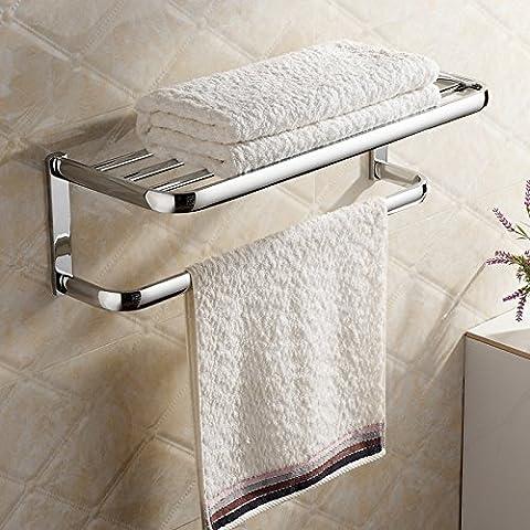 Hiendure® Fini chrome en laiton massif Salle de bains étagère avec porte-serviettes