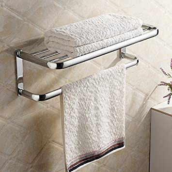 Hiendure®Brass Wall Mounted Towel Rack Hanger Holder Organizer Bar Bathroom  Towel Shelf (