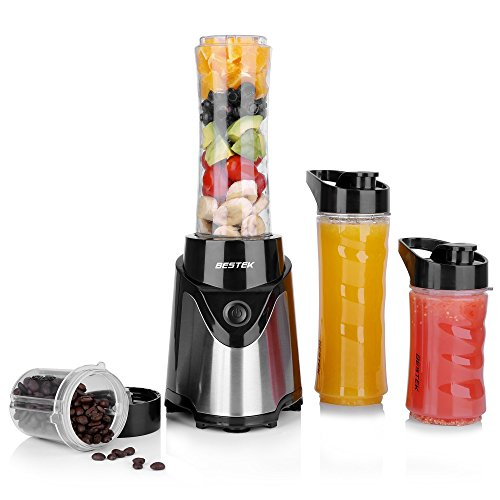 BESTEK Batidora de Vaso 300W, Batidora Portátil para Fruta, Verdura y Hielo (Libres de BPA), 3 Vasos, Electrodomésticos de comsumo bajo, Ideal para Hogar Viaje, 4 Velocidades, Acero Inoxidable, Negro