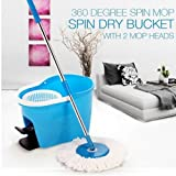 Spin Mop 360° Wischmop Bodenwischer Set Wisch Mop Eimer Mopstange Wischmob Wischer Aufnehmer (Platinum)
