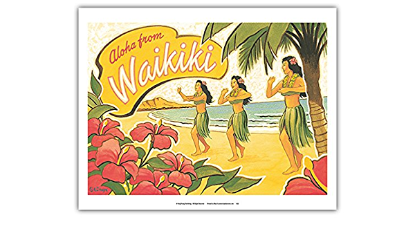 Aloha From Waikiki Vintage Hawaiian Hula Dancers Vintage Hawaiian Travel Poster By Kerne Erickson Art Print Amazon De Alle Produkte
