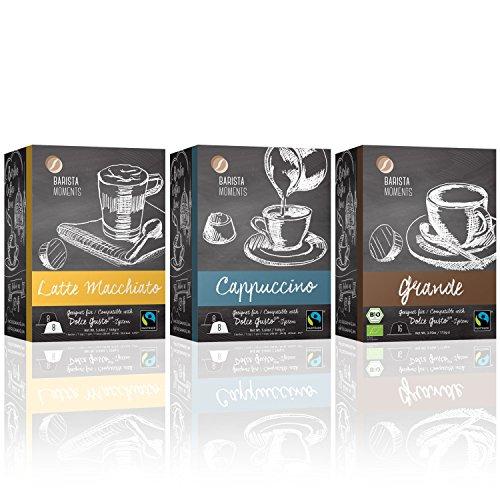 Barista Moments 3er Box Kaffeekapseln - 48 Dolce Gusto kompatible Kapseln in 3 erlesenen Sorten: Grande (Bio), Cappuccino und Latte Macchiato | Fairtrade (3 x 16 Kapseln)