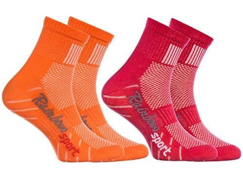 Rainbow Socks - 2 Paar Sportsocken für KINDER – Atmende BAUMWOLLE – zum Laufen, Radfahren und anderen Sportarten – ORANGE ROT Pack| Größen: 24-29, Made in EU