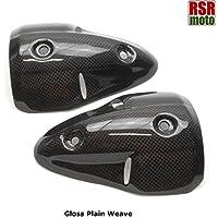 RSR Moto Ducati 6967961100Monster 100% puro in fibra di carbonio di scarico calore scudi (Gloss Plain Weave)