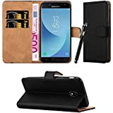 Samsung Galaxy J3 2017 Case, Leather Wallet Flip Stand view Case Cover for Samsung Galaxy J3 2017 + Touch Stylus Pen + Screen Protector & Polishing Cloth (Black)