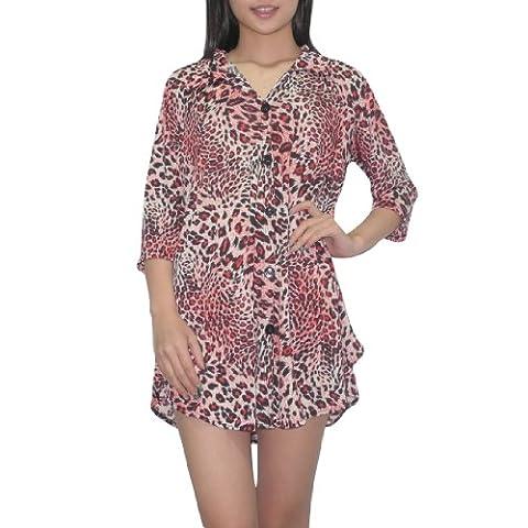 femmes Thai Bouton exotique manches 3/4 Bas Animal Print Flowing Blouse Top / Casual Dress - Rouge & Noir (taille: M-L )