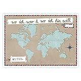 Eine der Guten A2 Weltkarte für Weltenbummler - ICH-Version Beige - Reisedokumentation für alle Deine Reisen zum selbst ausfüllen, Recyclingpapier Poster [Landkarte]