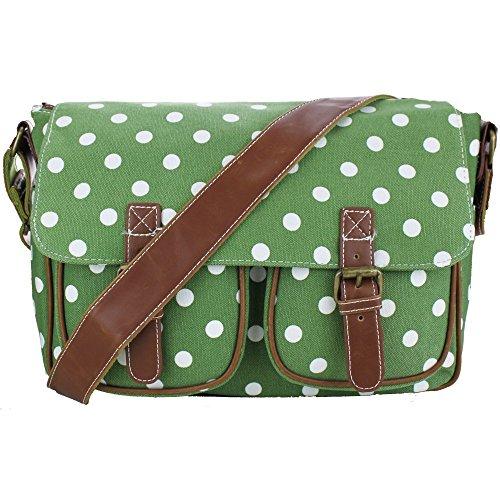 Miss Lulu Umhängetasche, Wachstuch, Punkte, Umhängetasche, Handtasche, Messenger Bag Green Canvas
