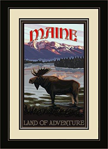 Northwest Art Mall pal-1800mfgdm Mil Maine Land of Adventure Elch im Lake gerahmtes Wandbild Art von Künstler Paul A. lanquist, 13von 40,6cm