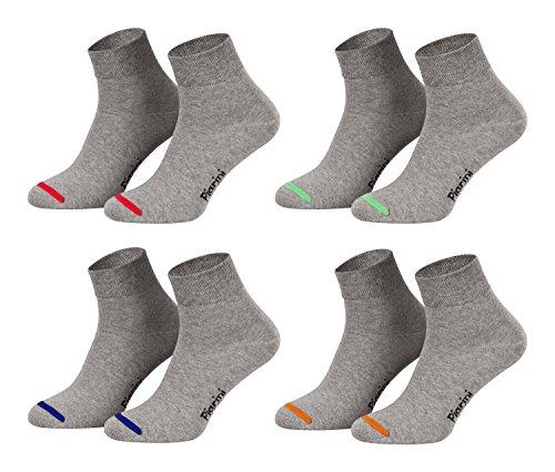 Piarini 8 Paar kurze Socken Kurzsocken Quarter Socken für Damen Herren Kinder | dünn, ohne Gummibund | grau mit Neonspitze 35-38