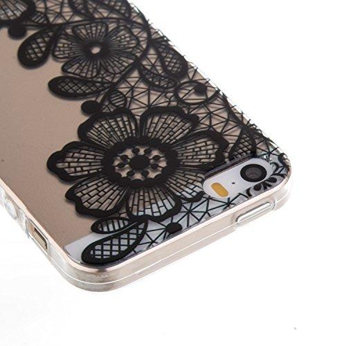 CaseHome iPhone SE/5S/5 Durchsichtig Silikon TPU Hülle Elegantes Stilvoll Hübsches Muster Druckte Entwurf (Mit freiem HD Schirm-Schutz) Gummi Silikongel Retro Klassiker Stoßstange Weicher Stoßdämpfer- Chrysantheme