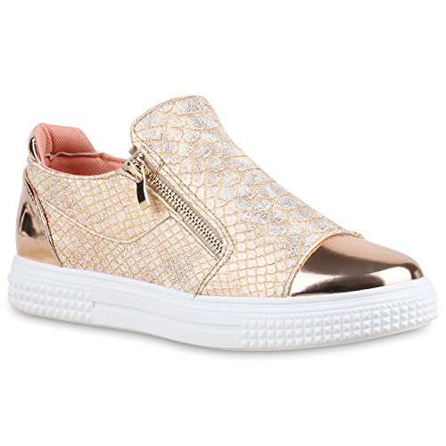 Damen Sneakers Zipper Metallic Cap Sneaker Low Kroko Print Sport Trainers Flach Turn Flats Slip-Ons Schuhe 134351 Rose Gold 39 Flandell