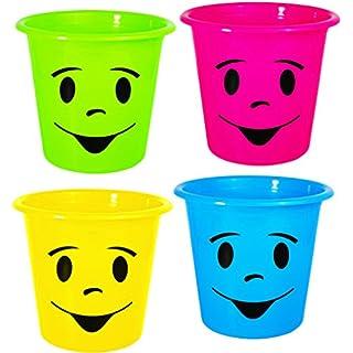 alles-meine.de GmbH 4 Stück _ Papierkörbe / Mülleimer / Blumentöpfe -  lustiges Gesicht bunt - NEON Farben  - Eimer / auch als Blumentopf nutzbar - Behälter 5 Liter - aus Kunst..