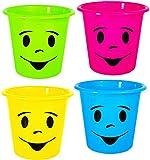 Unbekannt 4 Stück _ Papierkörbe / Mülleimer / Blumentöpfe -  lustiges Gesicht bunt - NEON Farben  - Eimer / auch als Blumentopf nutzbar - Behälter 5 Liter - aus Kunst..